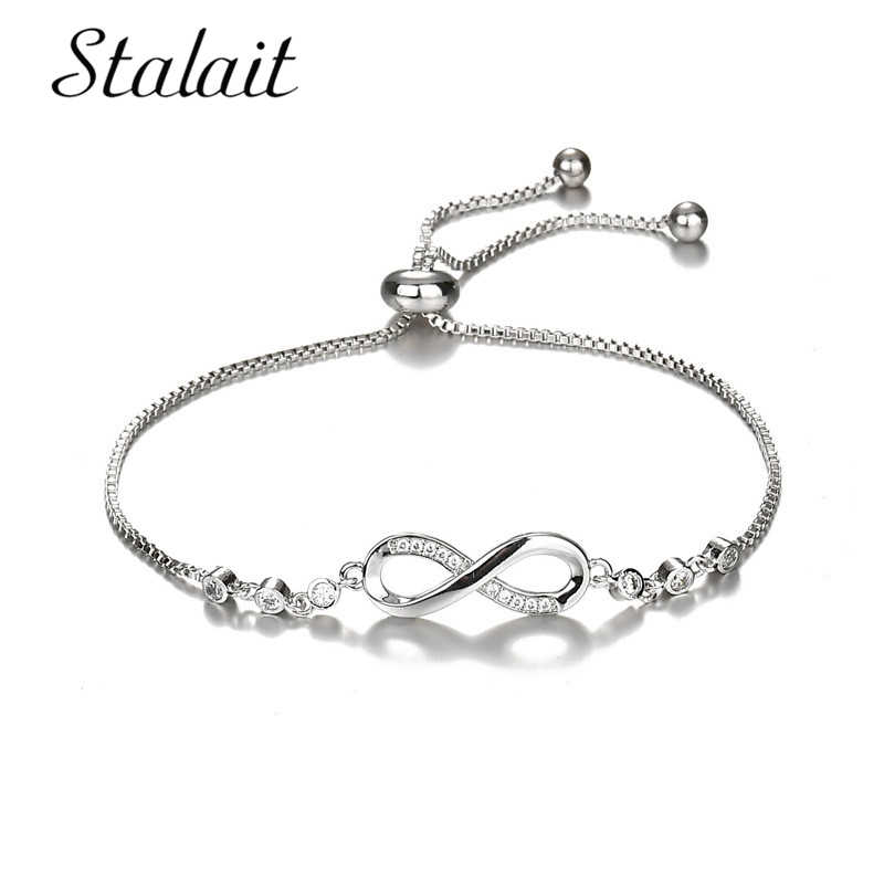 Trendy Infinite Love Adjustable Bracelet Jewelry For Women 8 Letter White Gold Color Charm Bracelet & Bangles Gift Accessories