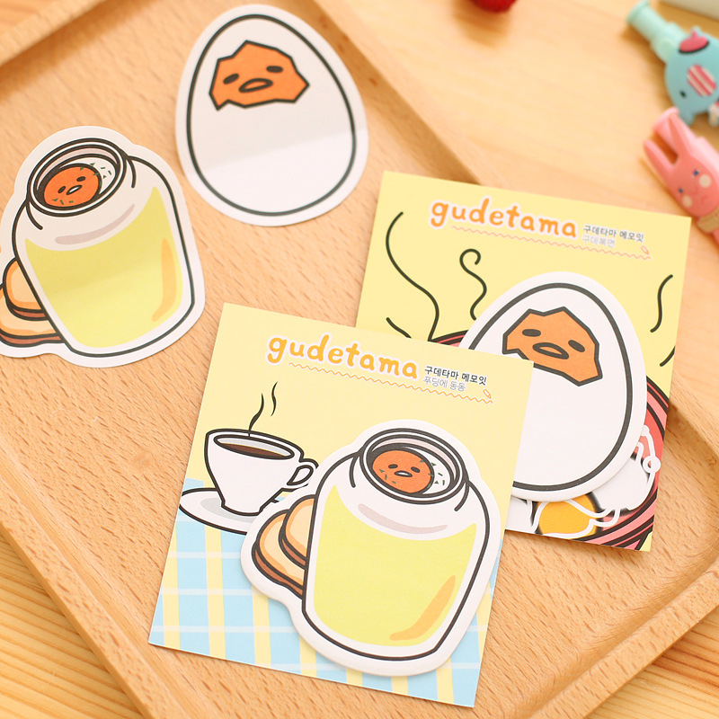 4Pack/Lot New Cartoon Yellow Lazy Egg Memo Pad N Times Guestbook Sticky Notes School Supply Bookmark Post it Label Gift E0673