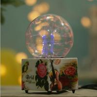 クリエイティブガラス工芸紫クマライトマジックボールタッチ光電誘導友人ギフトフラッシュクリスタルボール家の装飾