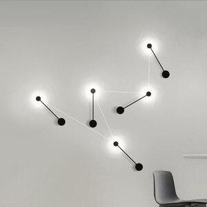 Image 5 - 2020 NEUE Minimalistischen kunst Punkte wand licht moderne LED wohnzimmer wand lampe Nordic kreative gang leuchten Schwarz Weiß
