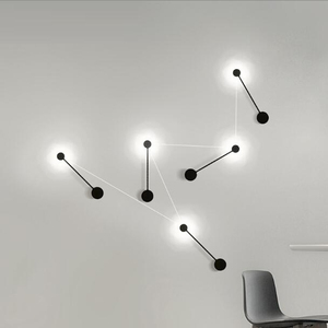 Image 5 - 2020 新ミニマルアートドットウォールライト現代の主導リビングルームの壁ランプ北欧クリエイティブ通路照明器具ブラックホワイト