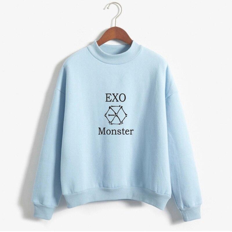 Kpop Exo Sticker Sweatshirt Autumn Winter Women Fleece Sweatshirt Exo Hoodies Harajuku Exo Pullover Top Outwear Drop Shipping