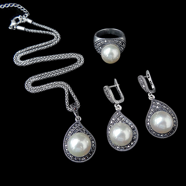 HENSEN New Fashion Teardrop Design Imitation Pearl And Rhinestone Jewelry Set Vintage Silver Plated Jewellery Sets For Women
