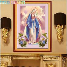 Diy Full Round Resin Diamond Embroidery Painting Rhinestones Kit Blessed Virgin Mary A Mosaic Deco Good Hobby Gift Dropshipping