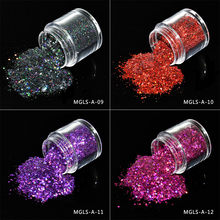 10G JAR 12Colors , MGLS-A Holo Mixed Shape Gold Silver Laser Sequins Nail Art Glitters Flakes Nail Art Powder Nail Decoration(China)