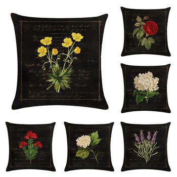 45 cm * 45 cm czarny mielony kwiaty projekt pościel/poduszka bawełniana pokrywa i poszewka na poduszkę kanapową poduszki dekoracyjne do domu pokrywa