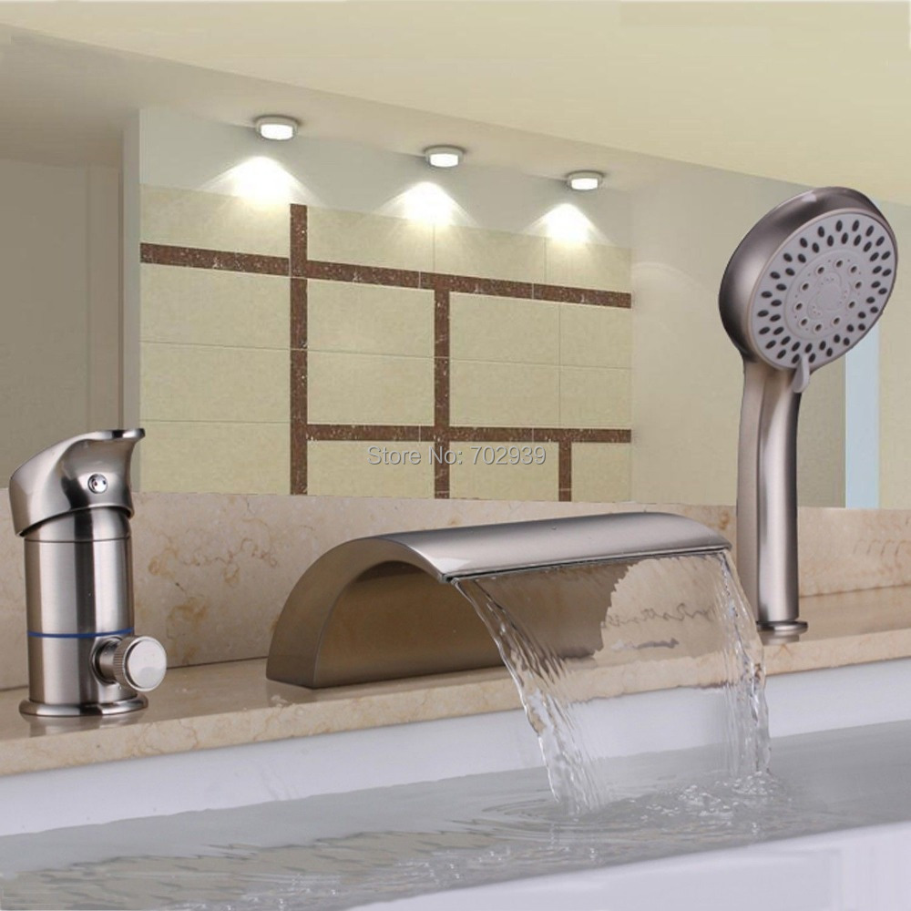 Us 181 9 Off Free Ship Brushed Nickel 3 Pieces Widespread Waterfall Bathroom Bath Roman Tub Filler Faucet W Hand Shower In Faucets From