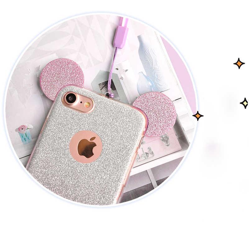 3D Роскошные Минни Микки Мышь уши мягкий чехол TPU для Samsung Galaxy S7 Edge S6 S5 J5 A5 прозрачная крышка ясно телефон Сумки Coque