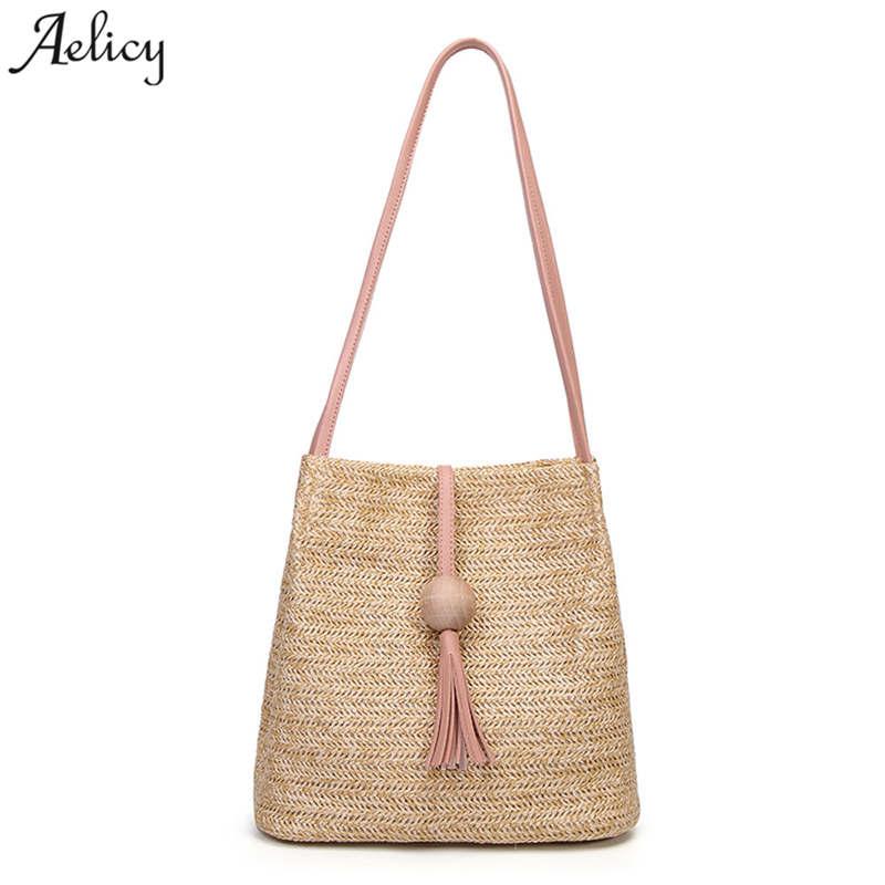 Aelicy Luxury Summer Women Durable Weave Straw Beach Bag Feminine Woven Bucket Grass Casual Tote Handbags Knitting Rattan Bags стоимость