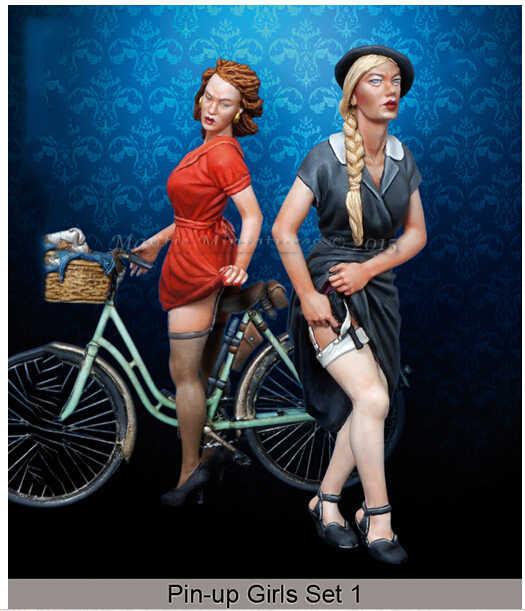 Ongeverfd Kit 1/35 Puin-up Meisjes Set niet bike figuur Historische Figuur Resin Kit