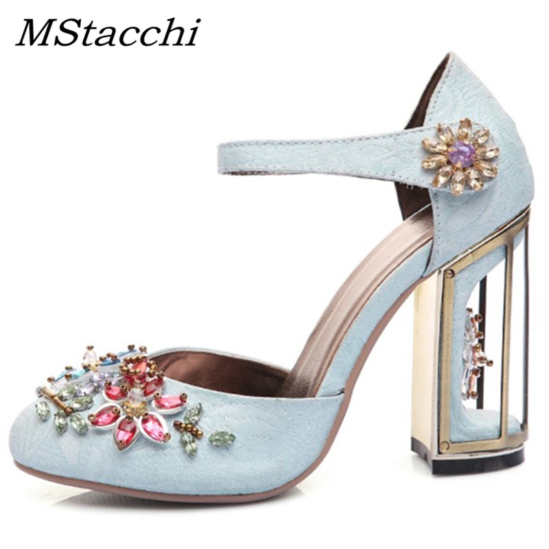MStacchi Crystal Flower Mary Janes Women Pumps Shoes Strange High Heels Handmade Rhinestone Wedding Shoes Genuine Leather Shoes