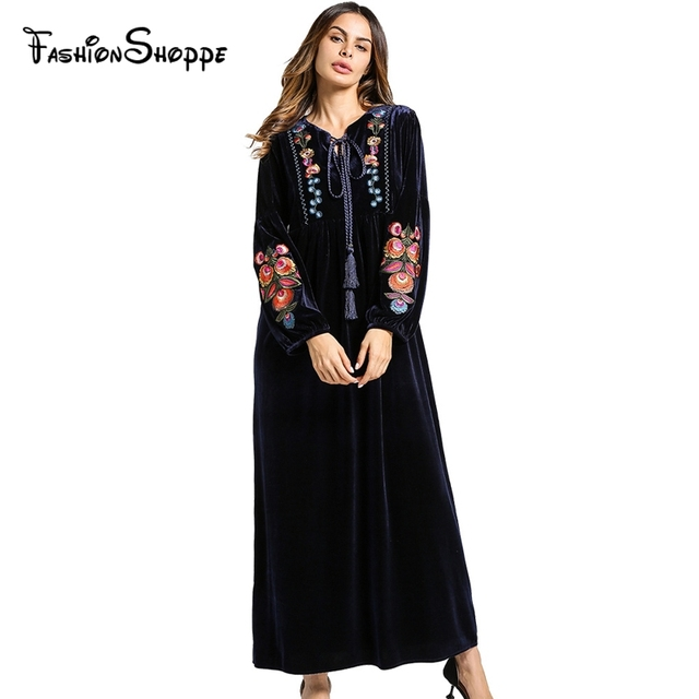 Fashion Women s Maxi Dress Embroidery Velvet Winter Abaya Warm Robe Gowns  Loose Style Muslim Middle East Arab Islamic Clothing 8d044eda079d