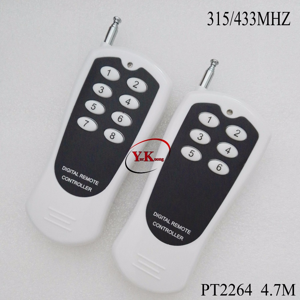PT 2264 Fixed Code Remote Consoles 6 Button 8 Button Long Range Wireless Transmitter for RF Receiver Switch 315 433 2264 4.7m 50km long range fpv sets for fixed wings