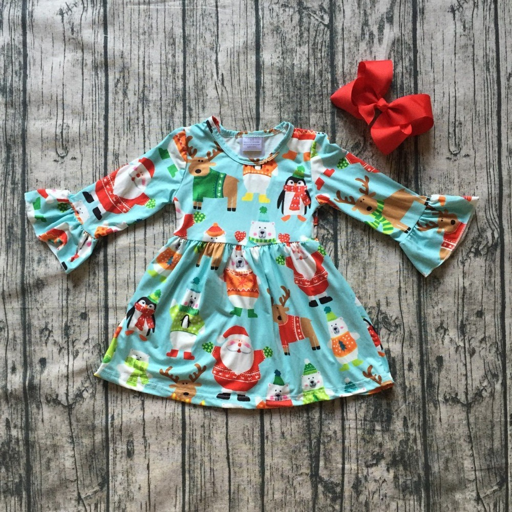 baby girls Fall dress clothing girls Christmas party dress children Santa Claus dress long sleeve milkailk dress with bows стоимость