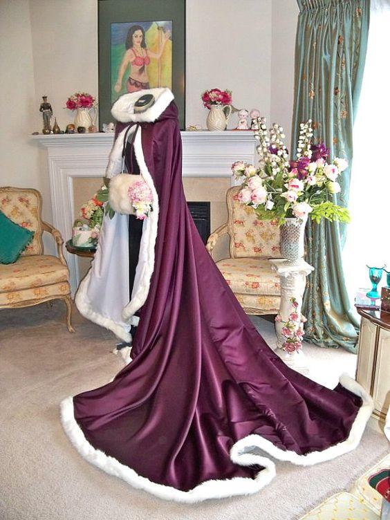 Graceful 2017 Hooded Bridal Cape Purple Long Wedding