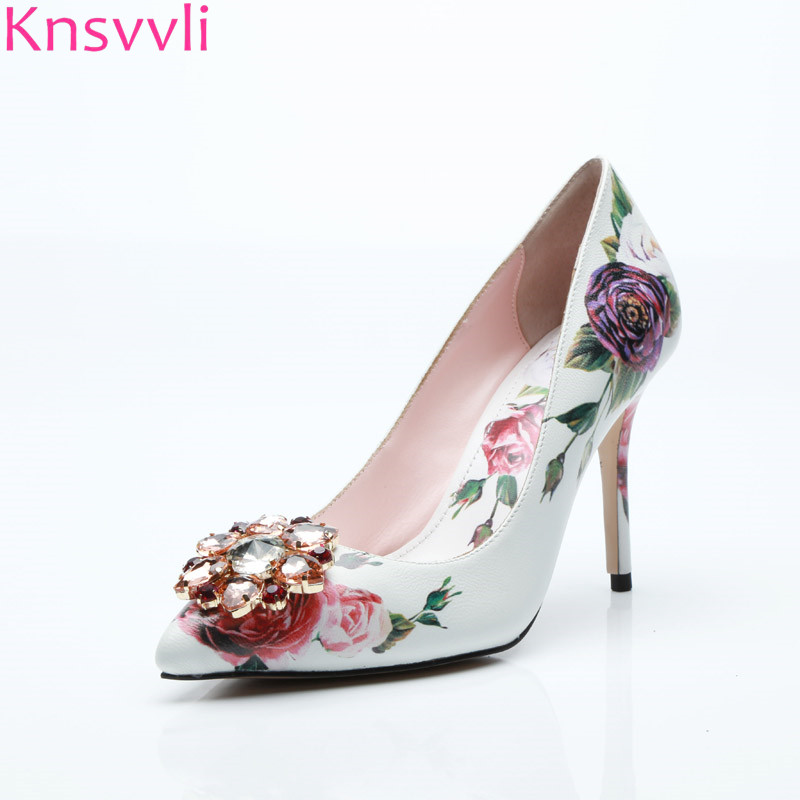Sexy Rose flower print high heels Shoes Women Pumps genuine leather 5.5 cm and 10.5 cm stiletto Pointed White Pink ladies shoes pink sexy lips print print crop sweatshirt