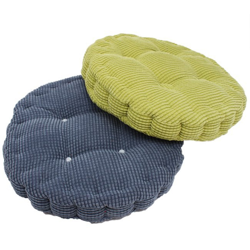 Free Shipping 40 40cm Chair Pad Cushion Pearl Cotton: 1pc 36*38cm Round Shape Plaid Chair Pad Cushion Thicker