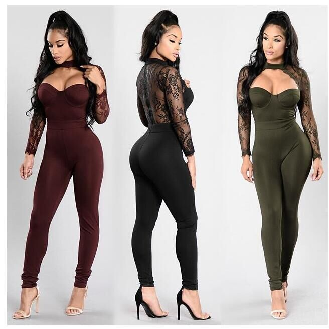 Summer Women Casual Fashion Elegant Slim Jumpsuit Women Long Sleeve Lace Back Hollow Out Jumpsuits Full