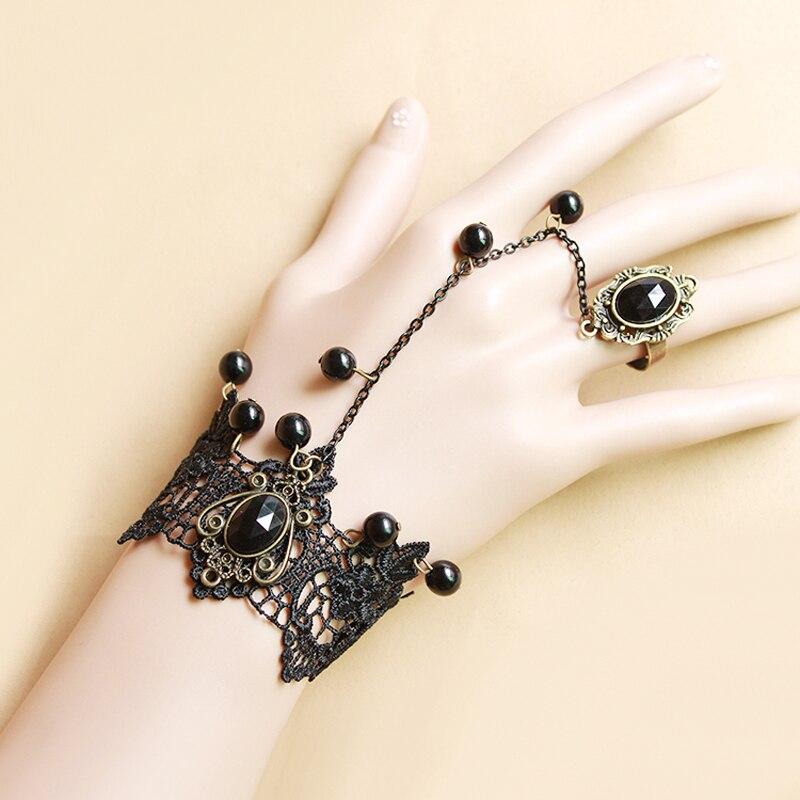 Black Lace Jewelry Sets Hand Wrist Bracelet & Rhinestone Ring Set Simulated-Pearl Women Dress Accessories Christmas Jewellery