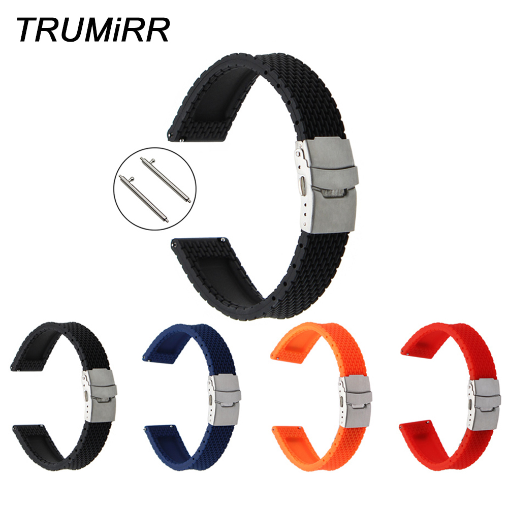 Quick Release Silicone Rubber Watch Band 22mm for Samsung Gear 2 R380 Neo R381 Live R382 Moto 360 2 46mm Pebble Time Wrist Strap 22mm silicone rubber watch band wrist strap for samsung gear s3 classic frontier gear 2 neo live moto 360 2 46mm men pebble time