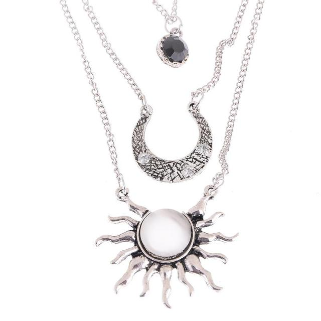 Fashion golden silver sun moon star pendant 3 layers necklace female fashion golden silver sun moon star pendant 3 layers necklace female statement opal crystal neckalce jewelry mozeypictures Choice Image