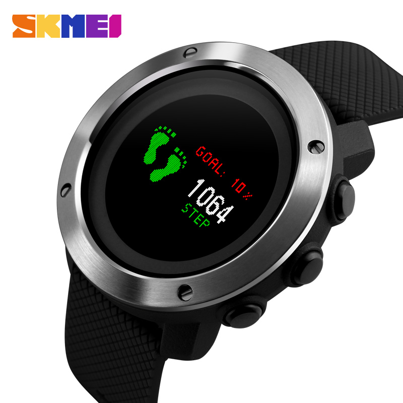 Skmei Sport Fashion Man Watch Water Resisitant Led Display Casual Stainless Steel Wristwatch 2 Time Week Display Outdoor Clock Watches