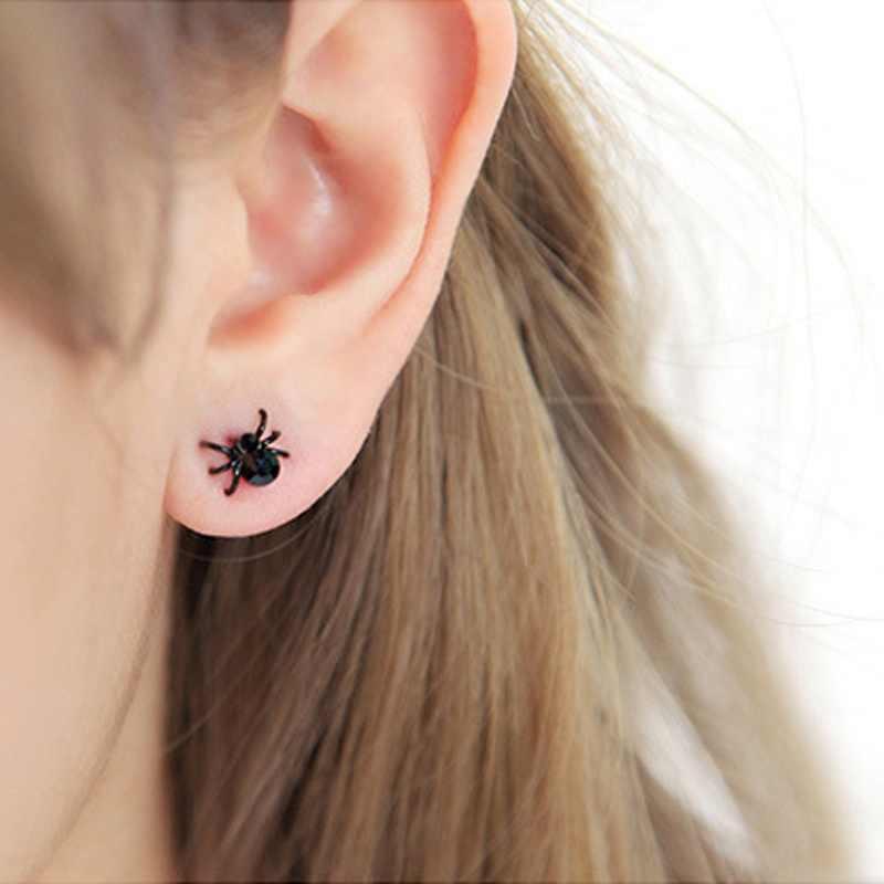 แฟชั่นผู้หญิงและผู้ชายน่ารักต่างหูสีดำ Tiny Stud Spider น่ารัก Cuff ต่างหูสำหรับสาวเลดี้ Ear Studs (สี: สีดำ)
