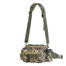 Camo Fishing Bag 3Layer Nylon Handbag Crossbody For Outdoor Hiking Durable Waist Sling Packet 34*17*16cm