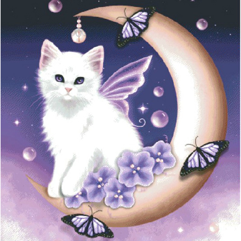 3d Diy Diamond Painting Picture Angel Cat Full Square