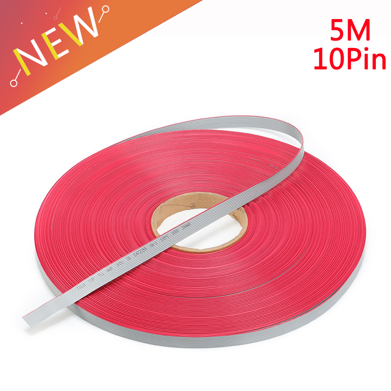 5m/lot 1.27mm Spacing Pitch 10 pin 10P Grey Gray Flat Ribbon Cable Wire Connector AWG28 300V Insulation: 9mils 10 Way