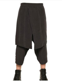 Hot 2020 Men Faux Two Piece Set Culottes 7 Culottes Plus Size Pants Skirts Stage Catwalk Culottes Singer Costumes 27-44