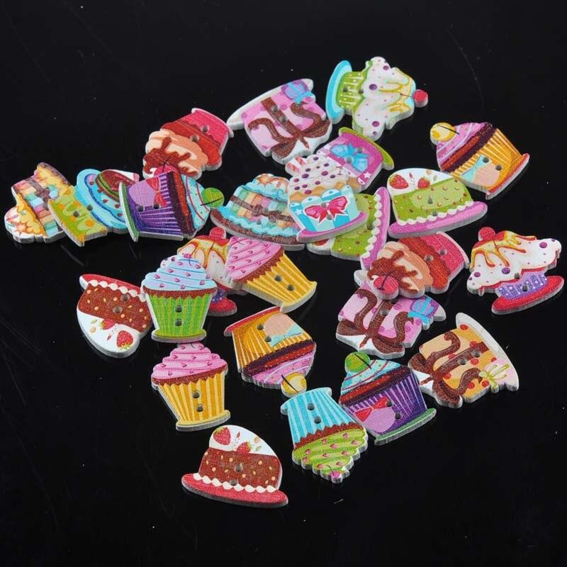 Торт живопись 10 товаров деревянные декоративные кнопки для Вышивание Скрапбукинг ремесла 50 шт. 18-25 мм mt1587