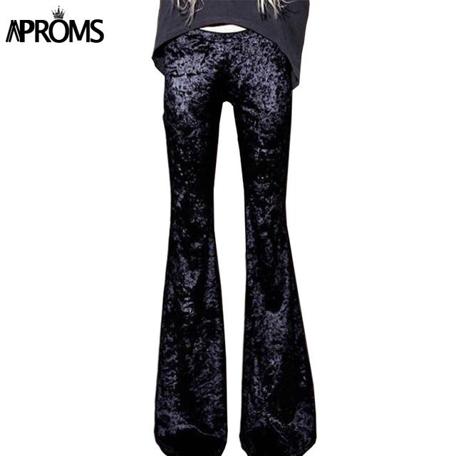 Aproms gilrs silm calças flare sexy cor sólida elegante 70 s bottoms de cintura alta de veludo cintura elástica calças casuais 2017 primavera