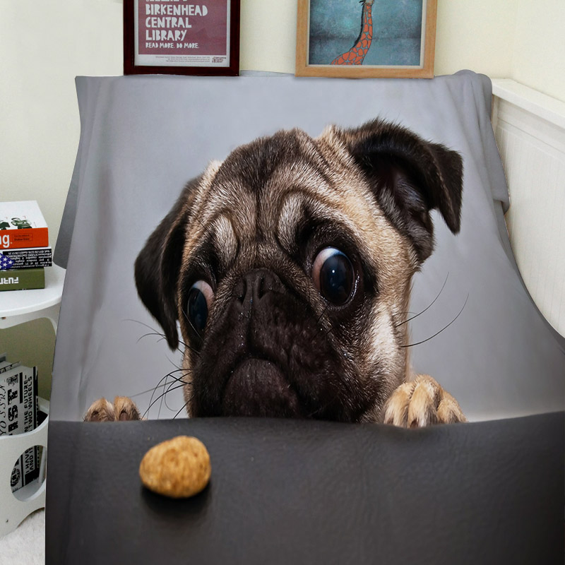 Blankets Comfort Warmth Soft Cozy Air conditioning Machine Wash Funny Temptation Pug Comfy Dog Blanket for