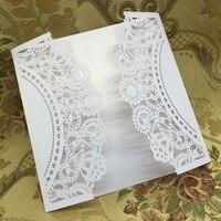 40 unids/set blanco láser corte tarjetas de boda ahueca hacia fuera arte Tarjetas de invitación flor patrón para celebración de la fiesta de cumpleaños