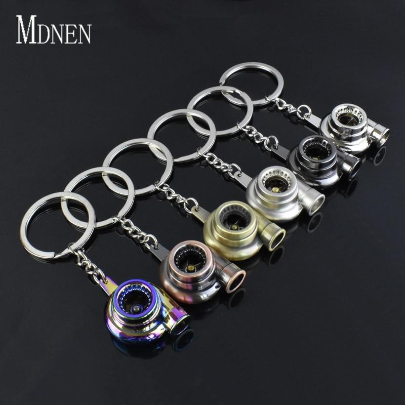 MDNEN Metal Auto Part Turbo Chain Model Key Chains Turbine Turbocharger Blower Keyholder Key Ring Turbo Keyfob Accessories Man