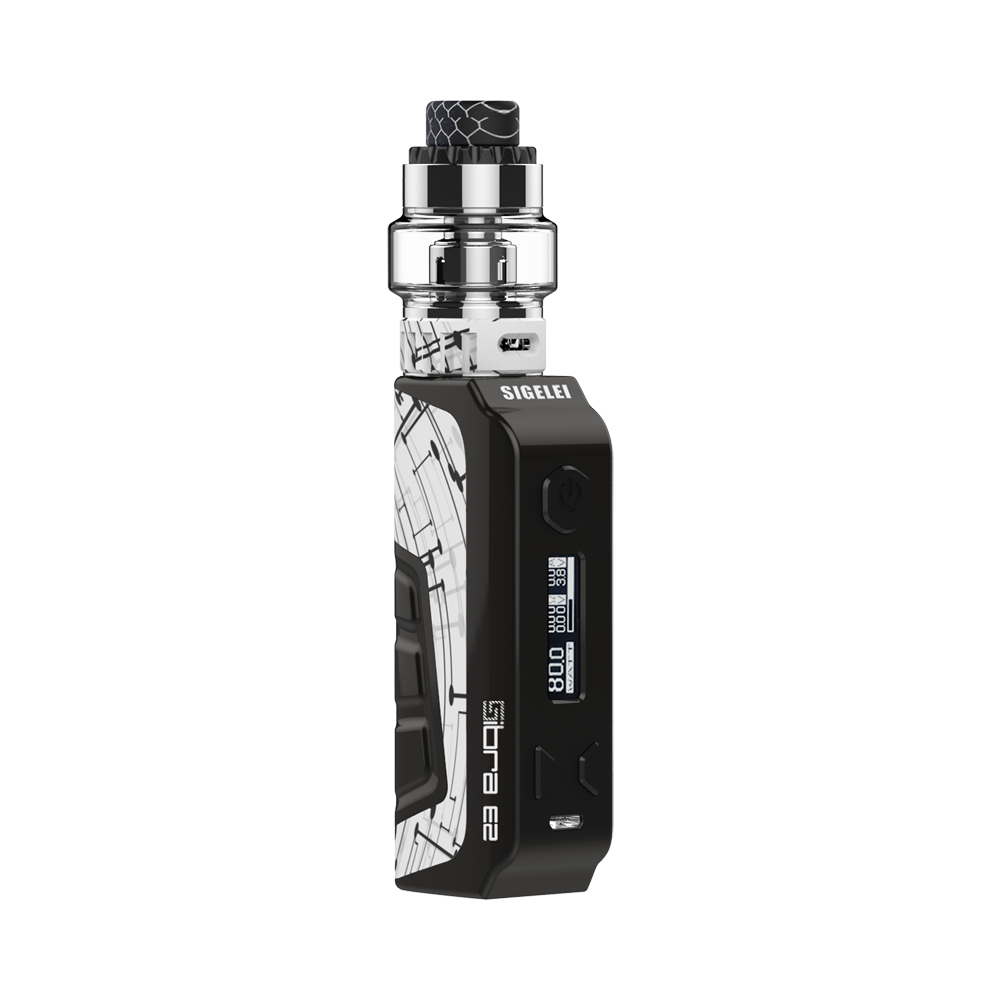 Newest original e electronic cigarette kit from SIGELEI Sibra E2 vape Kit 80w mod with high quality Moonshot 120 atomizer