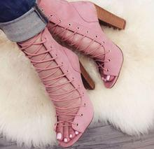 Big Size 11 Women Pink Ankle Boots Peep Toe Lace-up Gladiator Sandals Bootie Cut-out Thick Heels Short Boots Women Pumps