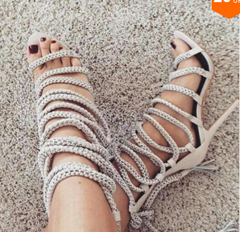 все цены на Hottest Women Fashion Open Toe Rope Straps Combined Lace-up Mid-calf Gladiator Boots Suede Leather Candy Color Sandal Boots