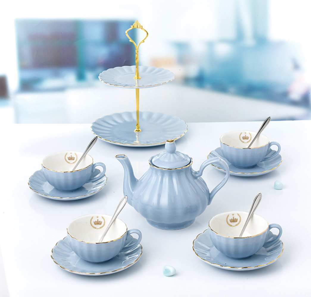 10Pcs Ceramic Tea Set Simple Creative Flower Tea Set Teapot Cup Tea Ceremony Set For Household Goods Tea Set in Teaware Sets from Home Garden