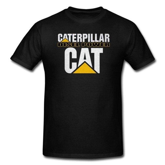 Clothing Мужской Slim Fit футболка Caterpillar Дизель Мощность Черные Мужчины Футболка 2017 Новая Мода Бренд Мужской Одежды Сплошной Цвет