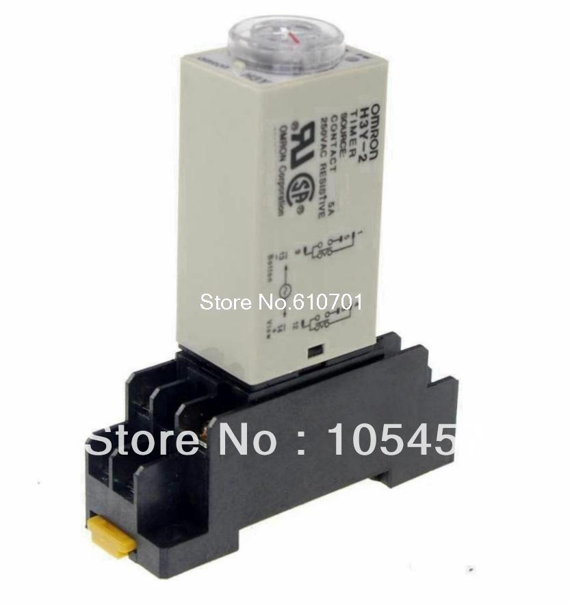 цена на 1pcs 12VDC/24VDC/24VAC/110VAC/220VAC H3Y-2 Power On Time Delay Relay 10 MINUTE DPDT 8 Pins & Socket 5A
