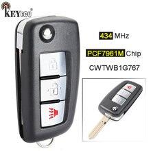 Keyecu 434Mhz PCF7961M Chip Fcc: CWTWB1G767 Vervanging Flip 3 Button Afstandsbediening Sleutelhanger Voor Nissan Rogue 2014 2015 2016 2017 2018
