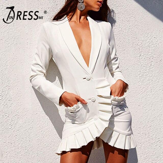 950170ee26 INDRESSME Sexy V profunda botón abrigos para mujer moda sólido negro  volantes de manga completa las mujeres trajes de invierno de 2019 nuevo  vestido de las ...