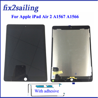 9.7 Lcds For Apple Ipad Air 2 ipad 6 A1567 A1566 Lcd Display With Touch Screen Digitizer Panel Assembly Complete with adhesive