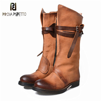Prova Perfetto New Style Retro Thick Bottom Low Heels Boots Real Leather Round Toe Buckle Strap Zipper-Side Women Long Boots