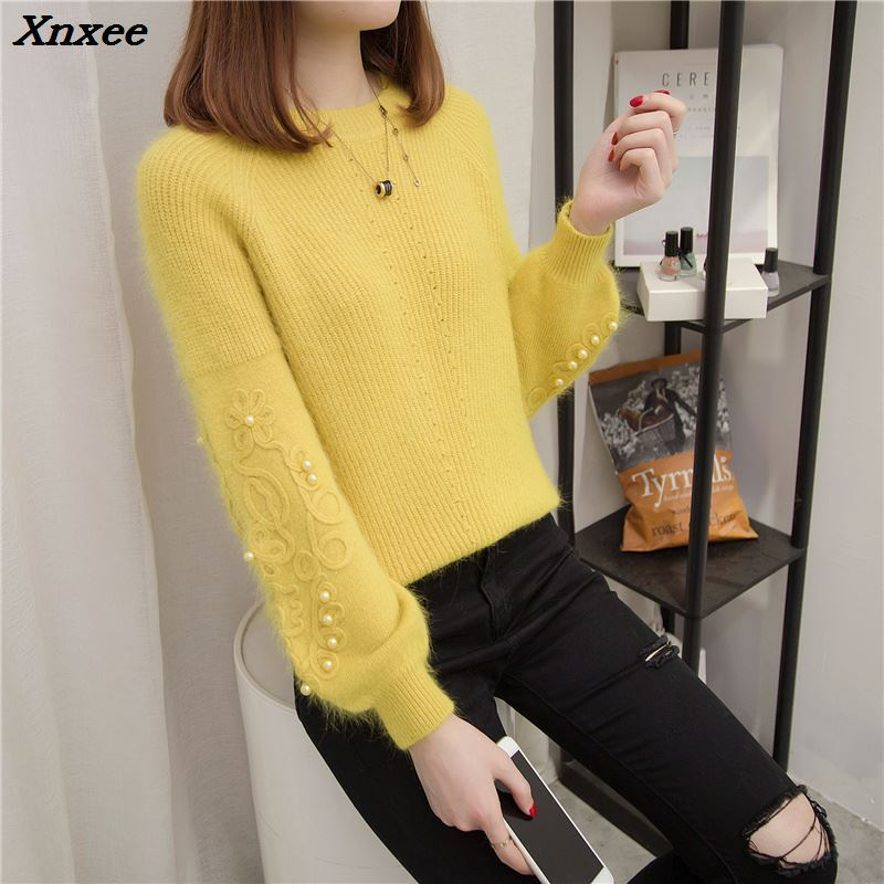 Xnxee the new flower bead 64 sweater sleeves students head set loose knit shirt all-match thickened autumn