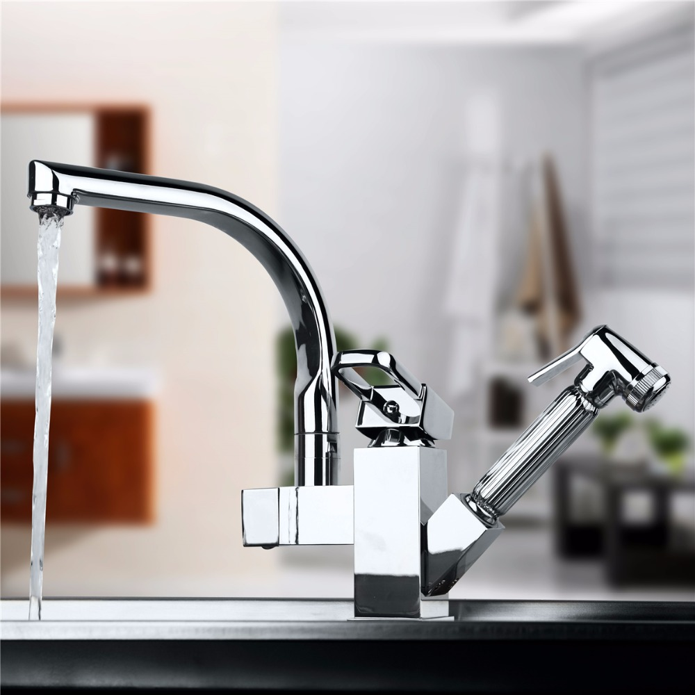 NEW Brass Kitchen Faucet Sink Mixer Tap With Pull Out Spray Swivel Spout Chrome Deck Mounted Kitchen Sink Faucets led spout swivel spout kitchen faucet vessel sink mixer tap chrome finish solid brass free shipping hot sale