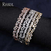 RAKOL Fashion Design Paved Column Cluster With Rose Gold Color Sparkling Bangles For Women White Gold Color Open Bracelets