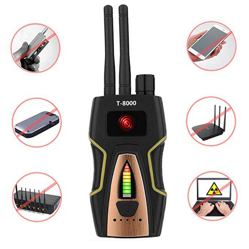 Anti-Spy Wireless RF Signal Detector Bug GPS Camera Signal Detector for Hidden Camera GSM Listening Device T8000 Free Shipping 1 pcs full range multi function detectable rf lens detector wireless camera gps spy bug rf signal gsm device finder